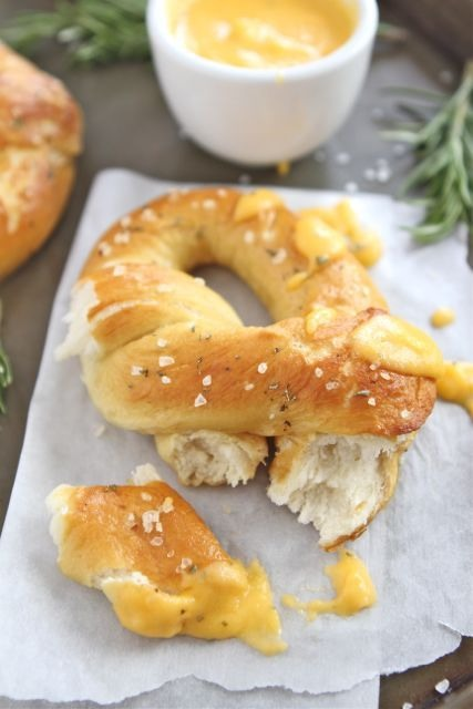 Rosemary Sea Salt Pretzels with Rosemary Cheddar Cheese Sauce ...