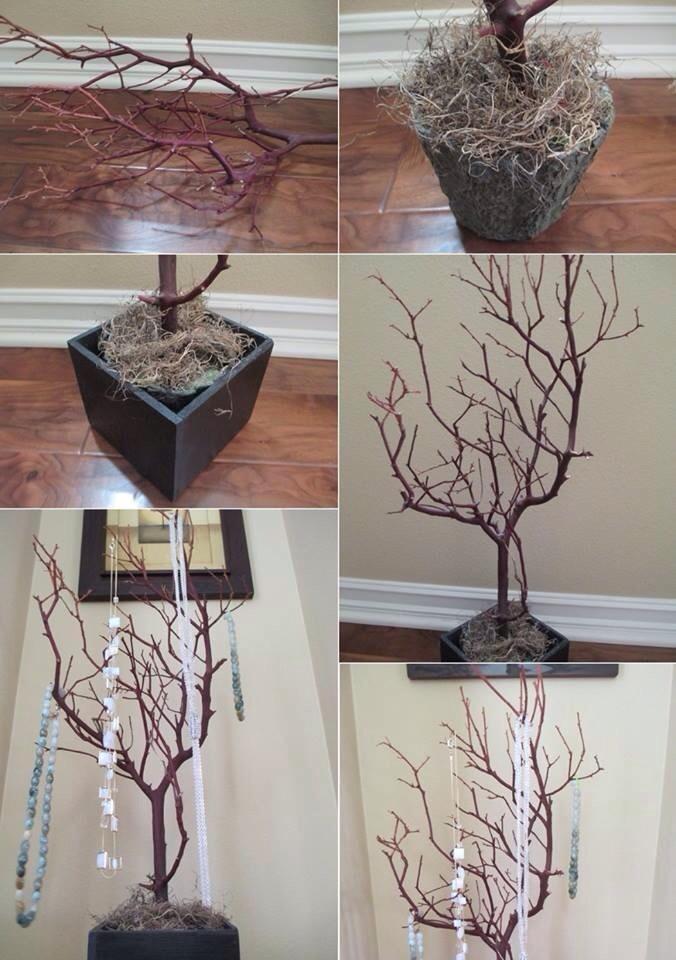 Diy tree branches trusper for Room decor jewelry holder