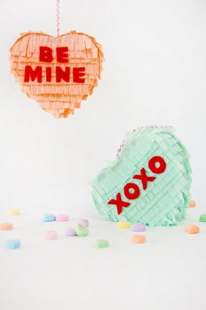 DIY Conversation Heart Piñatas