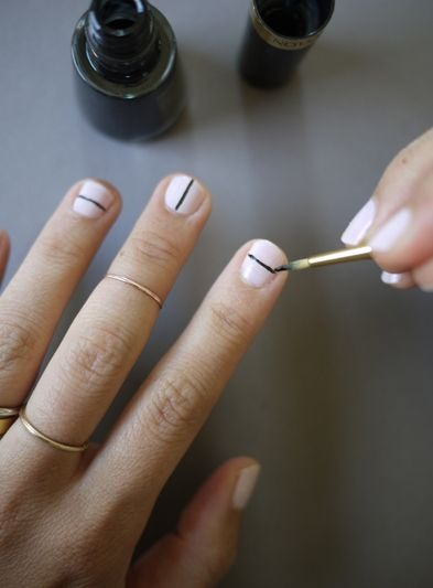 Simple Line Nail Art : Simple pretty nail art black lines with brush or