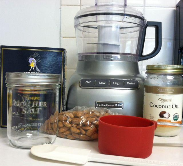 Items needed for making almond butter:Food processor, spatula ...
