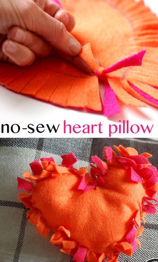 No Sew Heart Pillow.