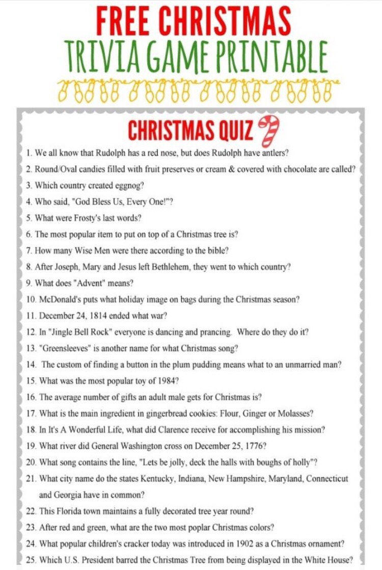 Christmas Trivia With Answers.Trivia Questions For Party Games Rutrackerwave