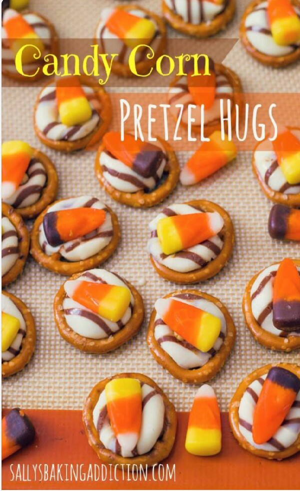 Candy Corn Pretzel Hugs!