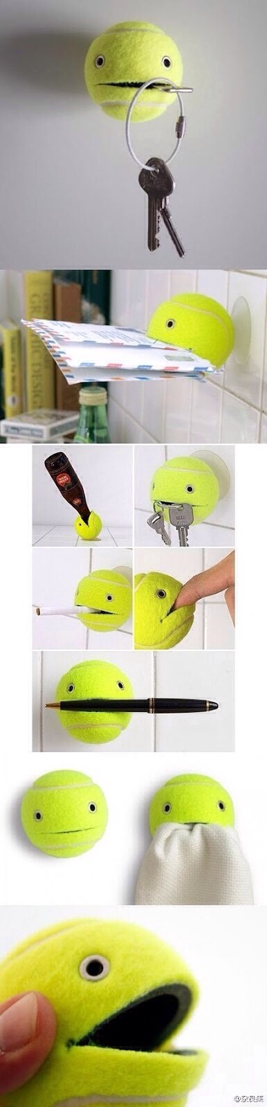 Turn Tennis Balls Into Key Holder, Paper Holder, Ect!
