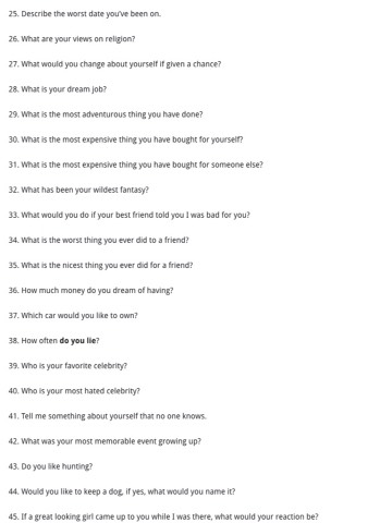 Sex history quiz for boyfriend