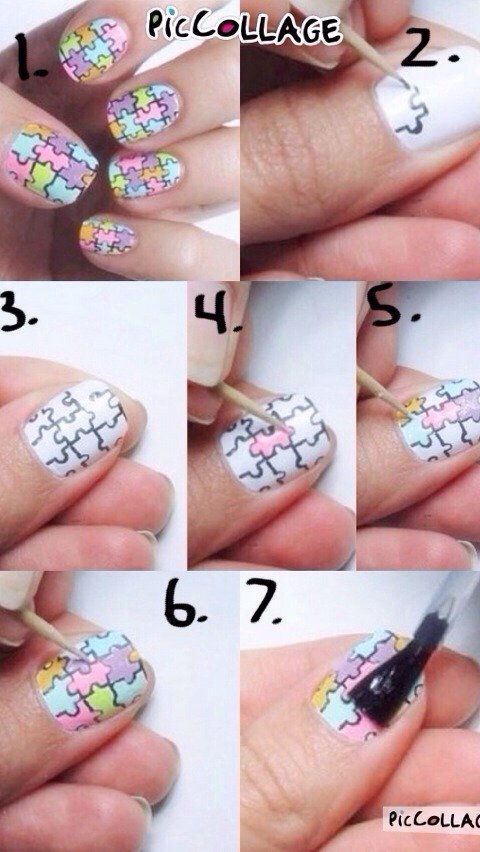 DIY puzzle piece nail art 🙈💙 #piccollage
