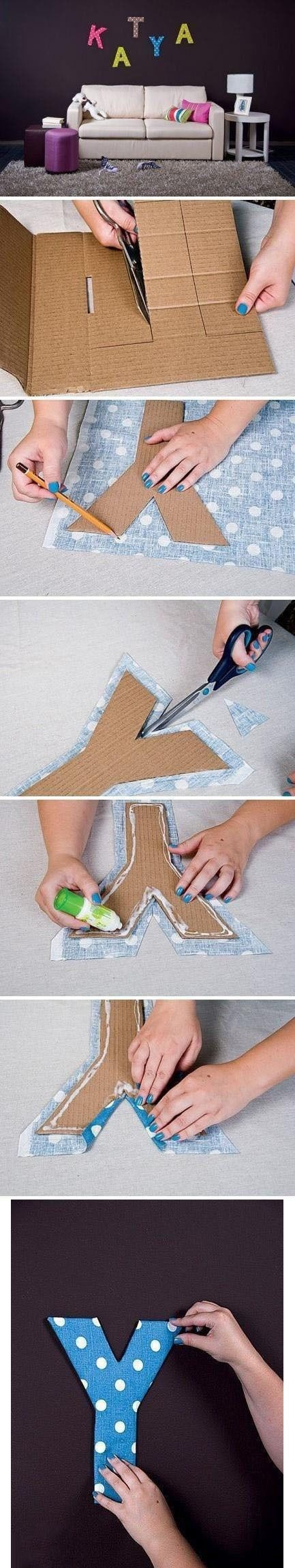 how to cover cardboard letters with fabric - 206 likes