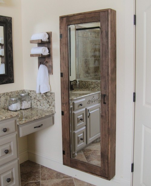 Diy Bathroom Full Length Mirror Storage Trusper