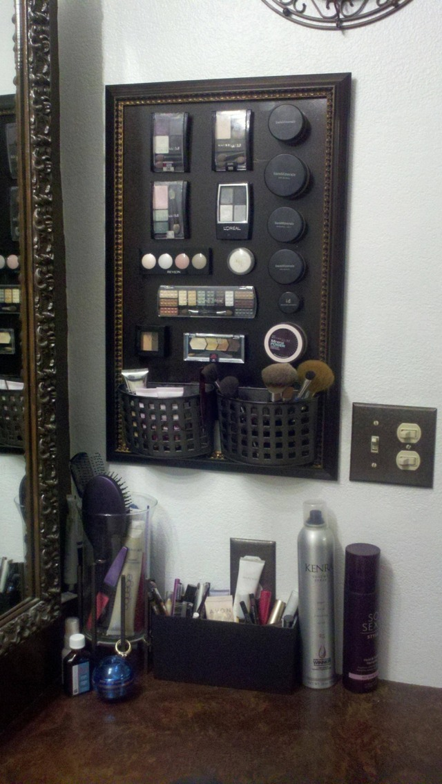 Make Your Own Magnetic Makeup Holder! So Cool And Great For Bathrooms With Limited Counter Space!