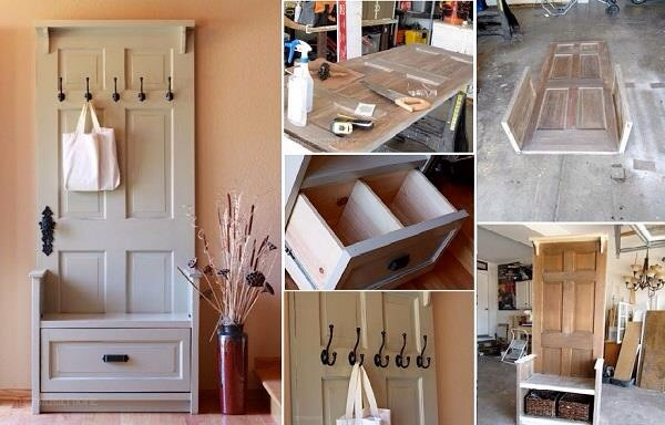 Turn And Old Door Into An Entrance Hall Storage Unit And Bag rack