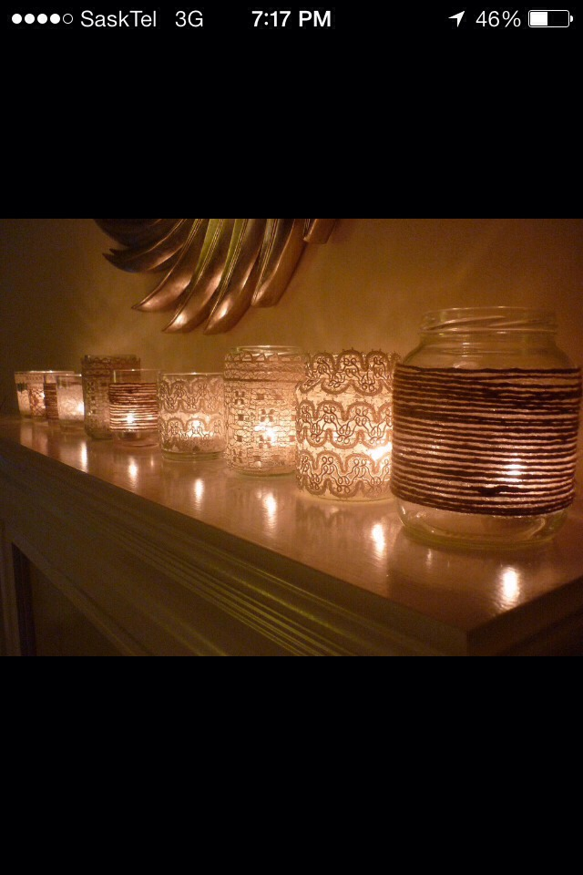 Wrap Lace Around A Mason Jar And Add A Tea Candle To Create A Unique Candle!