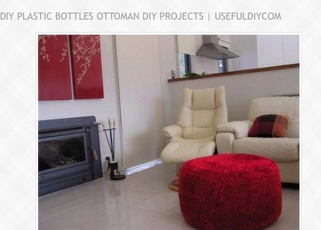 """ DIY Plastic Bottles Ottoman"" 👍"
