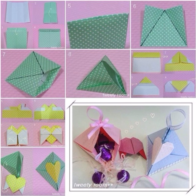 How to make Triangle Heart Lock Gift Box