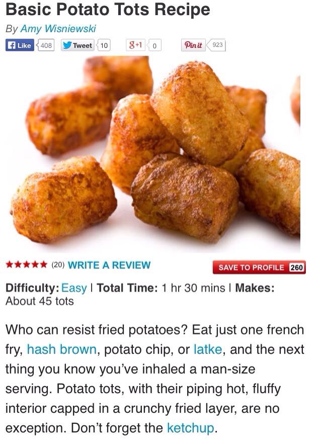 Basic Potato Tots Recipe!💝 | Trusper