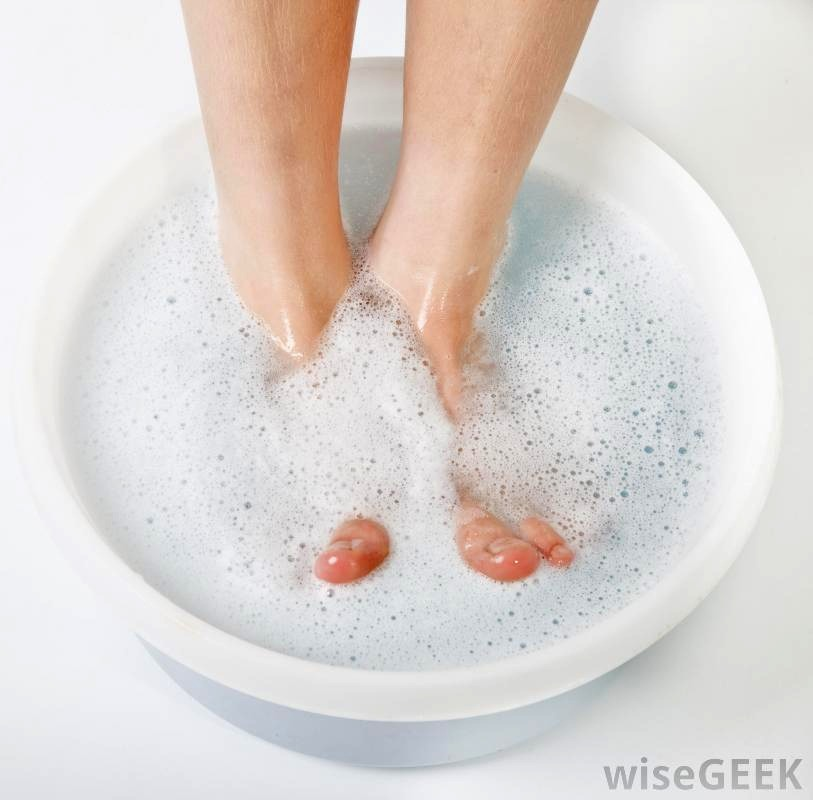 Mix together  1/4 cup Listerine (any color) 1/4 cup vinegar  1/2 warm water  Soak feet for up to 10 minutes and dead skin will come right off! Helps if you use a washcloth or loofa to gently scrub
