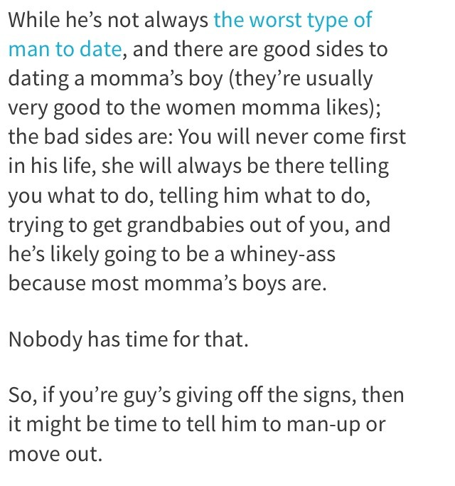 what to do if youre dating a mamas boy What to do when youre dating a mamas boy 25062017 komcor 13 signs you're dating a mama's boy what does this mean for you and what are the future prospects for the three of you in the relationship.