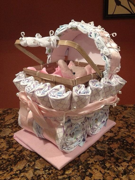Baby Gifts Unusual Ideas : Diaper carriage and cake unique baby shower gifts