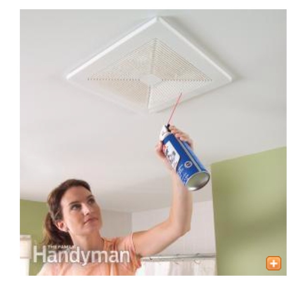 Use a blast of canned air to quickly clean dust from the wall and ceiling grilles of vent fans and heating/air conditioning systems. Build up in exhaust fans is a BIG cause of fires! Clean it and you could possibly save your life!