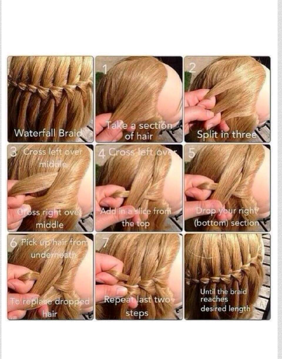 Как плести косу каскад пошагово