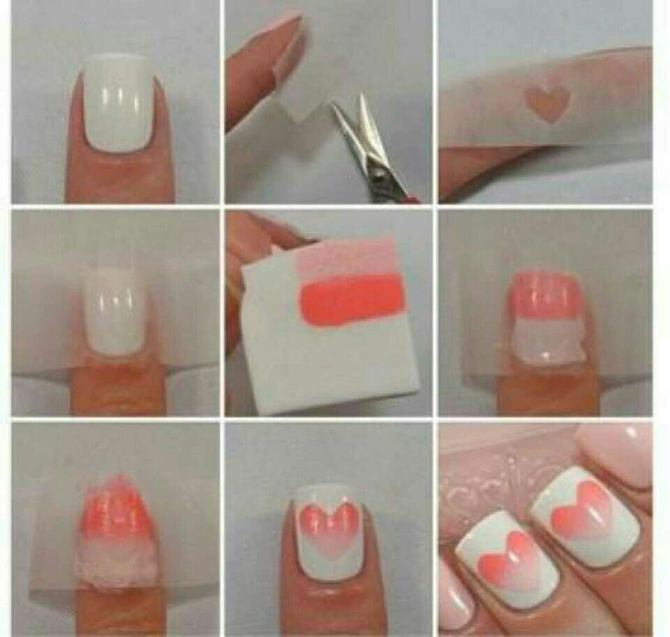 ombre heart nails