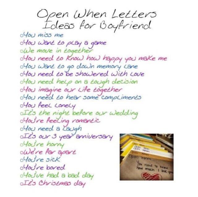 Make A Open When... Letters For Your Boyfriend/girlfriend ...