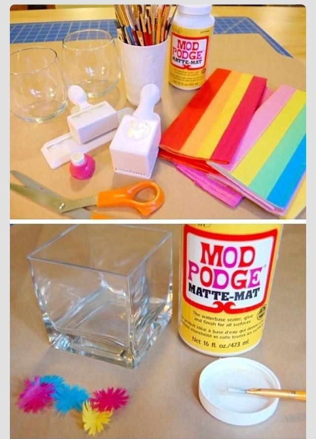 Diy stained glass candle holder using mod podge trusper for Diy using mod podge